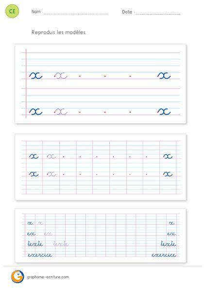 Écriture CE2 Apprendre à écrire la lettre x minuscule, pour s'exercer à l'écriture du x minuscule cursive et des mots ex, texte et exercice.