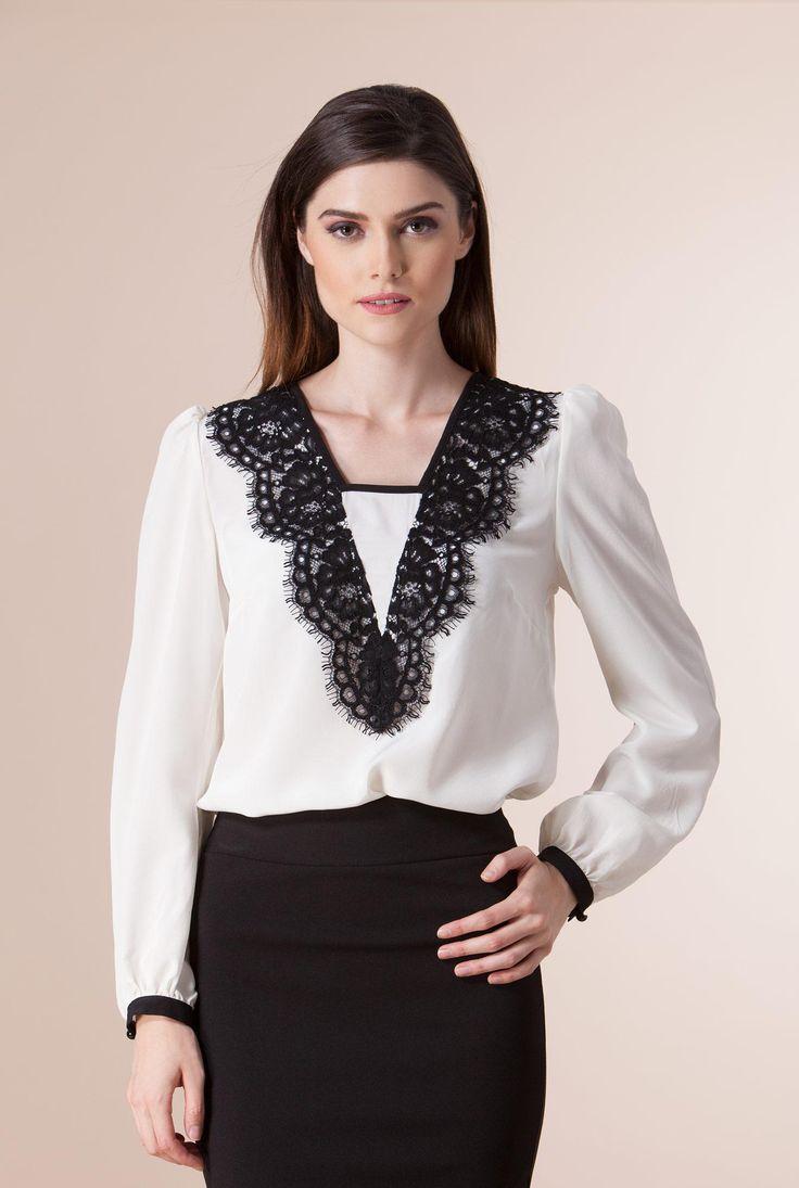 Bluza ivory din matase cu aplicatie dantela 1031-A de la Ama Fashion