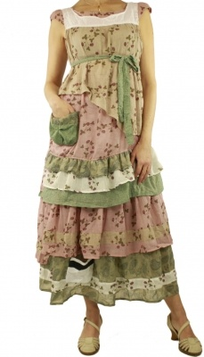 Large tunic Tiziano beige Ian Mosh - upcycled ruffled, country, cowgirl, gypsy dress in pinks, creams and greens
