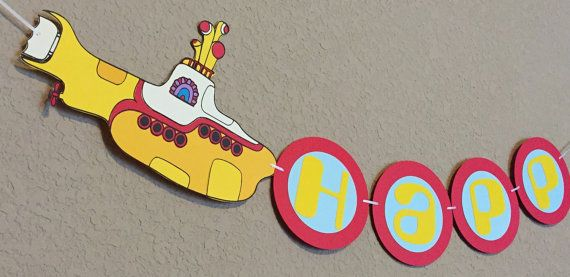 Yellow Submarine Beatles Party Banner  Yellow by CelebrationBee