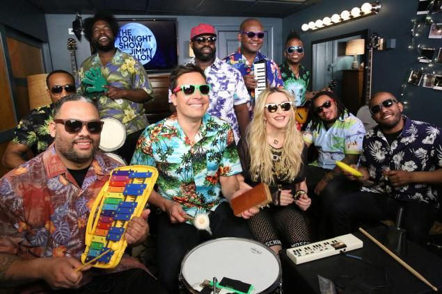 Jimmy Fallon, Madonna, and The Roots sing Holiday on classroom instruments. The Tonight Show