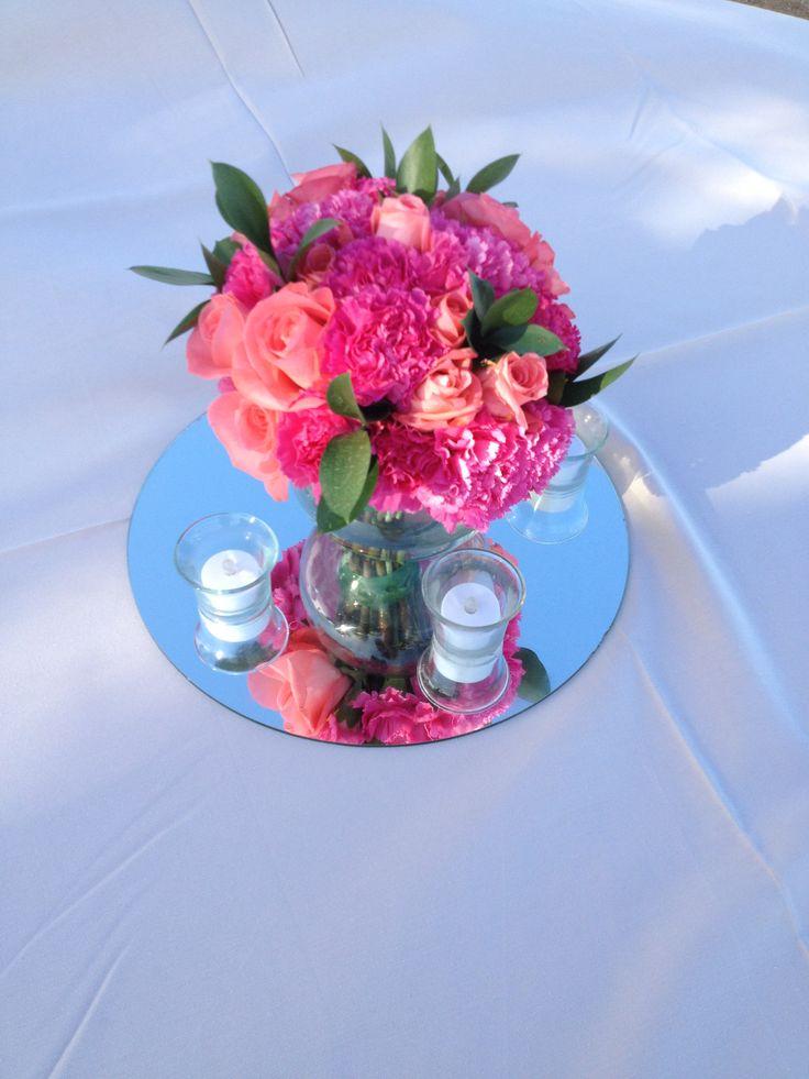 CBC153 Riviera Maya weddings / Bodas coral an hot pink centerpieces/ fuscia y coral centro de mesa