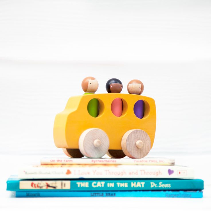Wooden Toy School Bus // Peg Doll School Bus // Toy School Bus // Wooden Vehicle // Wooden Toys by PegHeads on Etsy https://www.etsy.com/listing/291136197/wooden-toy-school-bus-peg-doll-school
