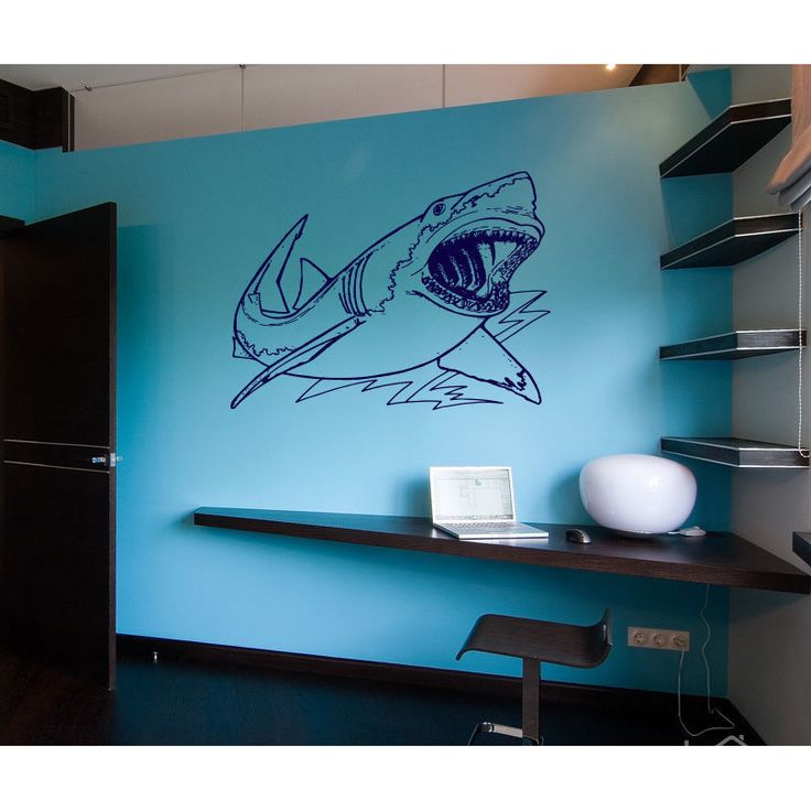 Shark Ocean Wall Decal Vinyl Stickers Decals Animal Wall Vinyly Sticker Decal size 22x26 Color Blue