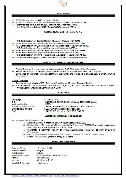 professional resume format free download 2