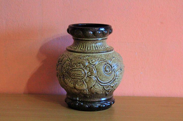 Vintage Germany 287-16? Scheurich Pottery Ceramic Vase Fat Lava Dark Light Brown by Grandchildattic on Etsy