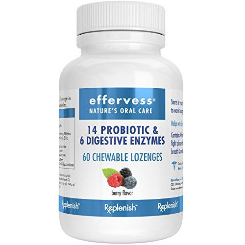 EFFERVESS  REPLENISH Probiotics and Digestive Enzyme Blend/ 60 Chewable Lozenges  10 Billion CPUs  Best Probiotic  Digestive Aid  Most Comprehensive In Its Class of Chewable Probiotics and Digestive Enzymes -Includes Vitamin C  Delicious Berry Flavor  Replenishes Good Bacteria  Satisfaction Guaranteed…