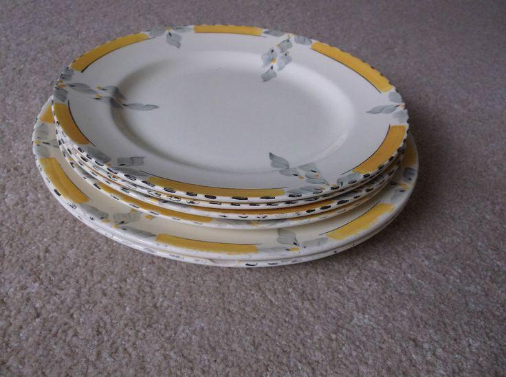6 Art Deco Burleigh Ware Zenith  Bouquet  Yellow-Black Plates 2 Dinner 4 Starter