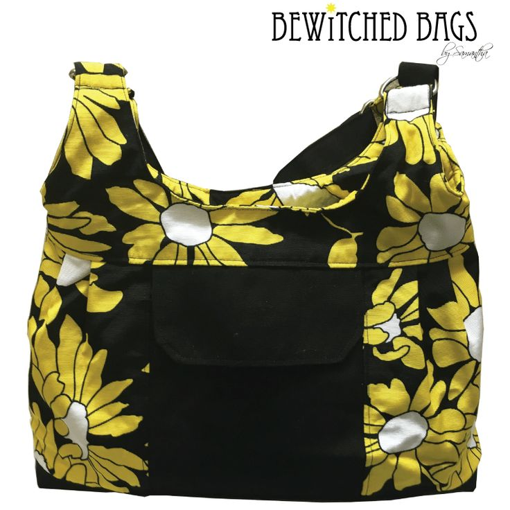 Handmade Bag with Beautiful Yellow Flowers Unique Bag with Front Pocket Feature