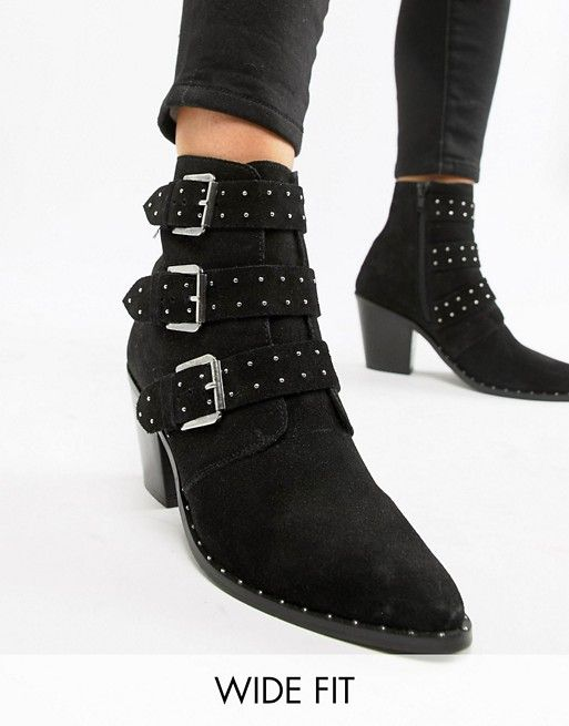 ed2573adb22 ASOS DESIGN Wide Fit Region Suede Studded Ankle Boots 87.00