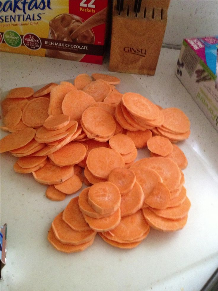 Easy dog treats - Just peel and slice sweet potatoes. Cook at 250 for 1.5 hours, turn and cook for another hour. Store uncovered.
