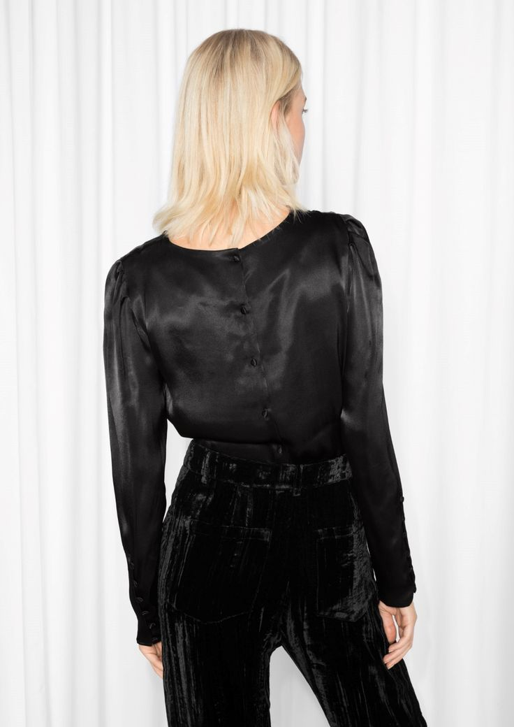 & Other Stories image 3 of Glossy Blouse in Black