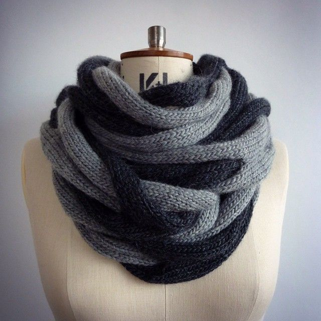 cari + carl interweave loop wrapped twice around the neck creates a striking look! www.cariandcarl.com