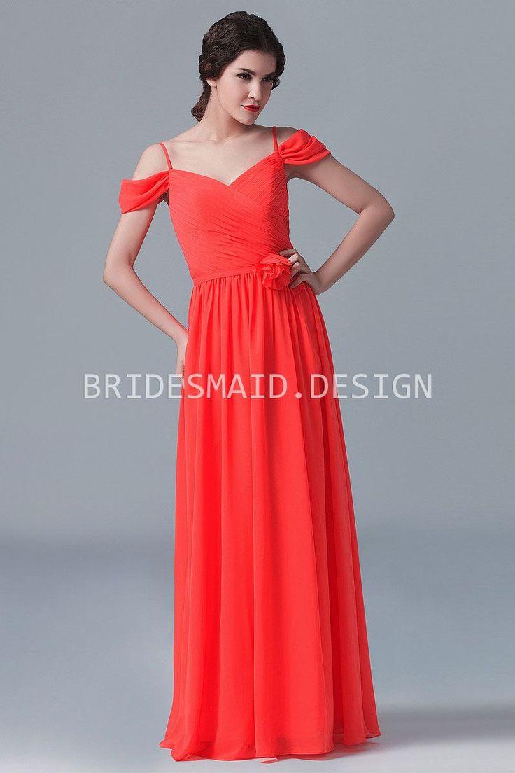 Off-the-shoulder Straps Bright Orange Chiffon Modern Long Bridesmaid Dress