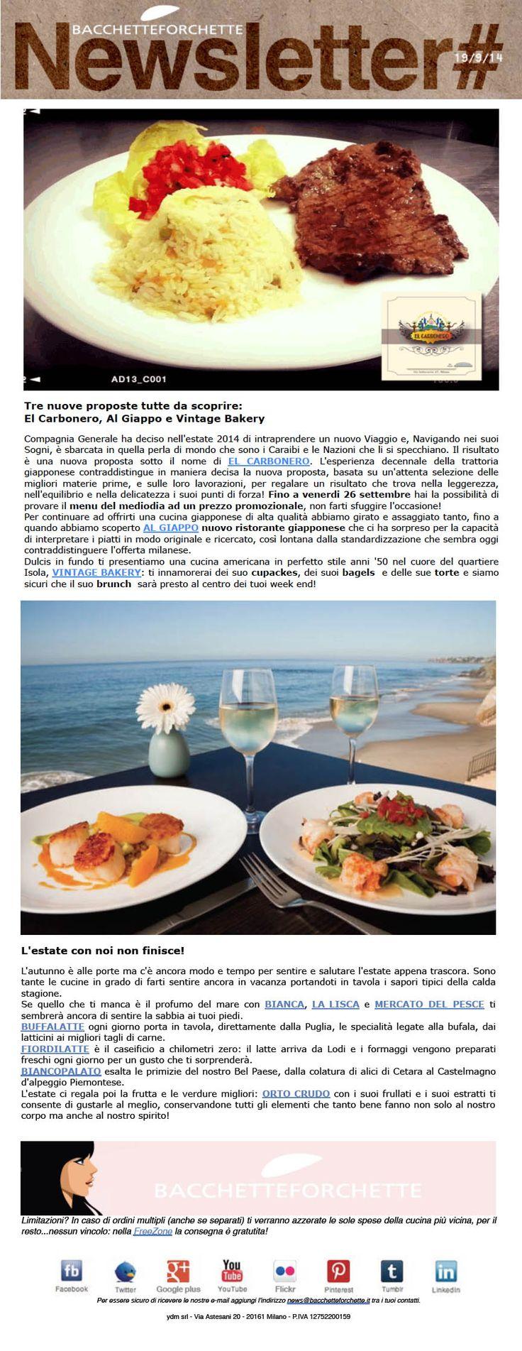 Tre nuove proposte tutte da scoprire: El Carbonero, Al Giappo e Vintage Bakery e L'estate con noi non finisce!