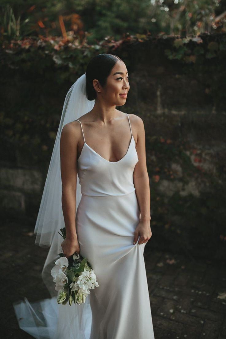 Simple satin wedding dress #simpleweddingdress #satinweddingdress #slipweddingdress