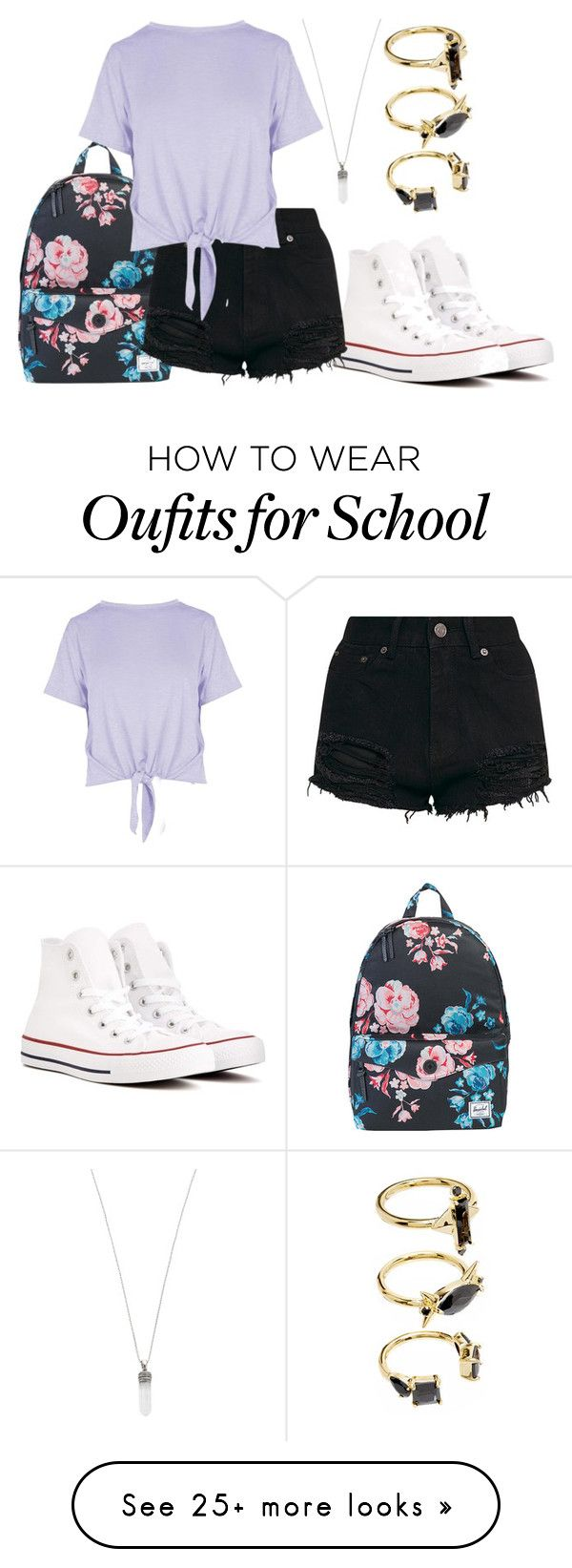 """Untitled #1373"" by wikiheart on Polyvore featuring Converse, Marc Jacobs, Herschel Supply Co., Boohoo and Noir Jewelry"