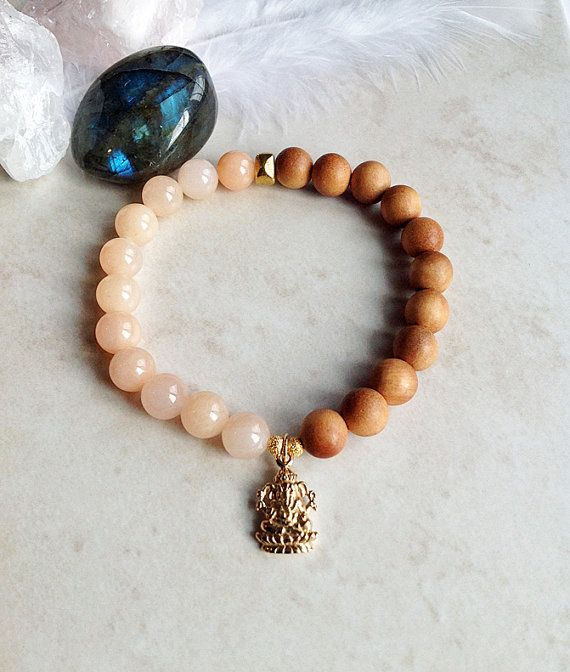 Lucky Ganesh Jade and Sandalwood Bracelet by InnerFireJewelry $25 - Click and save 10% with coupon code PIN10 - #luckyganesh #sandalwood #ganeshbracelet
