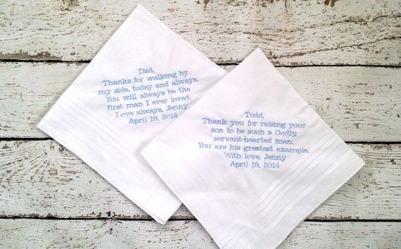 Father of Bride and Father of Groom Gifts!  Personalized Embroidered Wedding Handkerchiefs by HeatherStrickland on Etsy