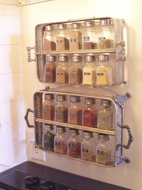 Casserole spice rack  | iVillage.ca: wow! – this would make great craft room storage – I already love my spice cabinet and no room for this in the kitchen.