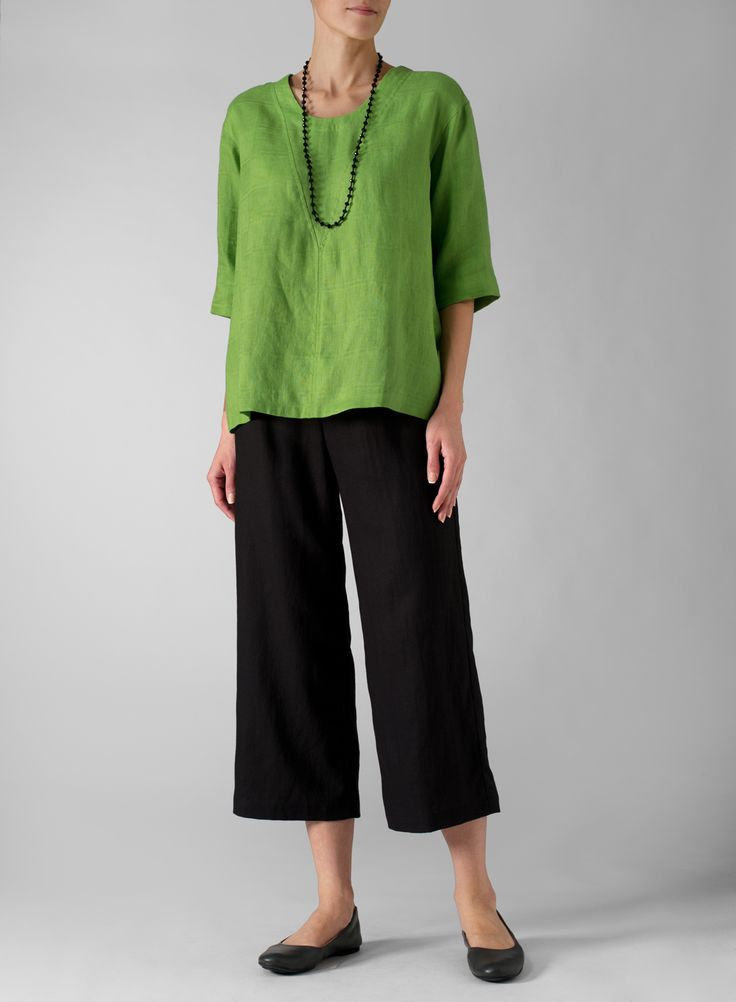 Green Linen Three-Quarter Sleeve Top