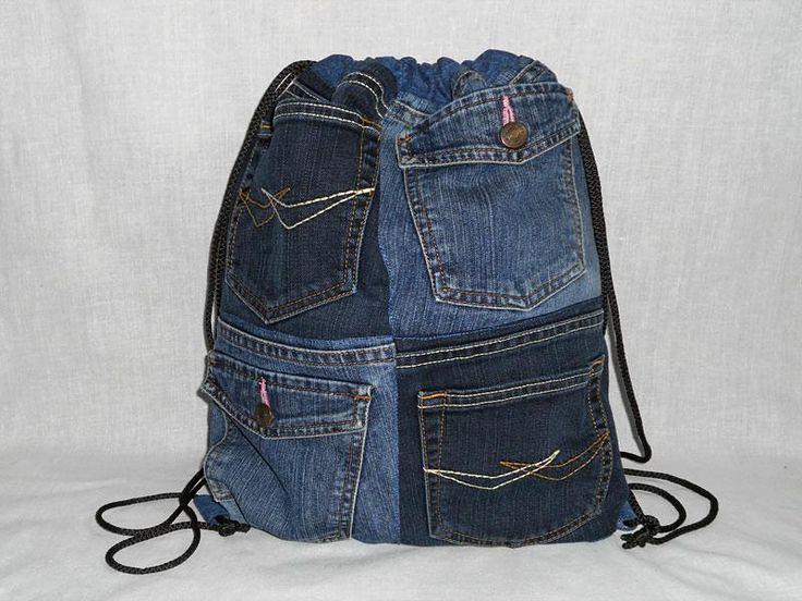 Джинсовая сумка-рюкзак на шнурке 36х44 см производства мастера Джинсовый кот на платформе Crafta. Купить хенд мейд Джинсовая сумка-рюкзак на шнурке 36х44 см в Украине из первых рук.