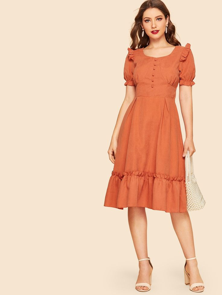 40s Frill Trim Button Front Fit & Flare Dress