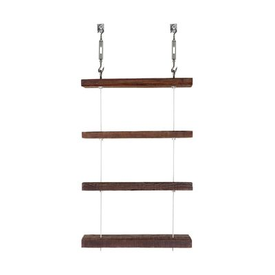 Reclaimed Floating Shelves. - Floating shelf unit made of steel hardware and reclaimed wood- Unit includes 4 shelves, 2 anchors, and metal cable- Listed height is for the individual shelves