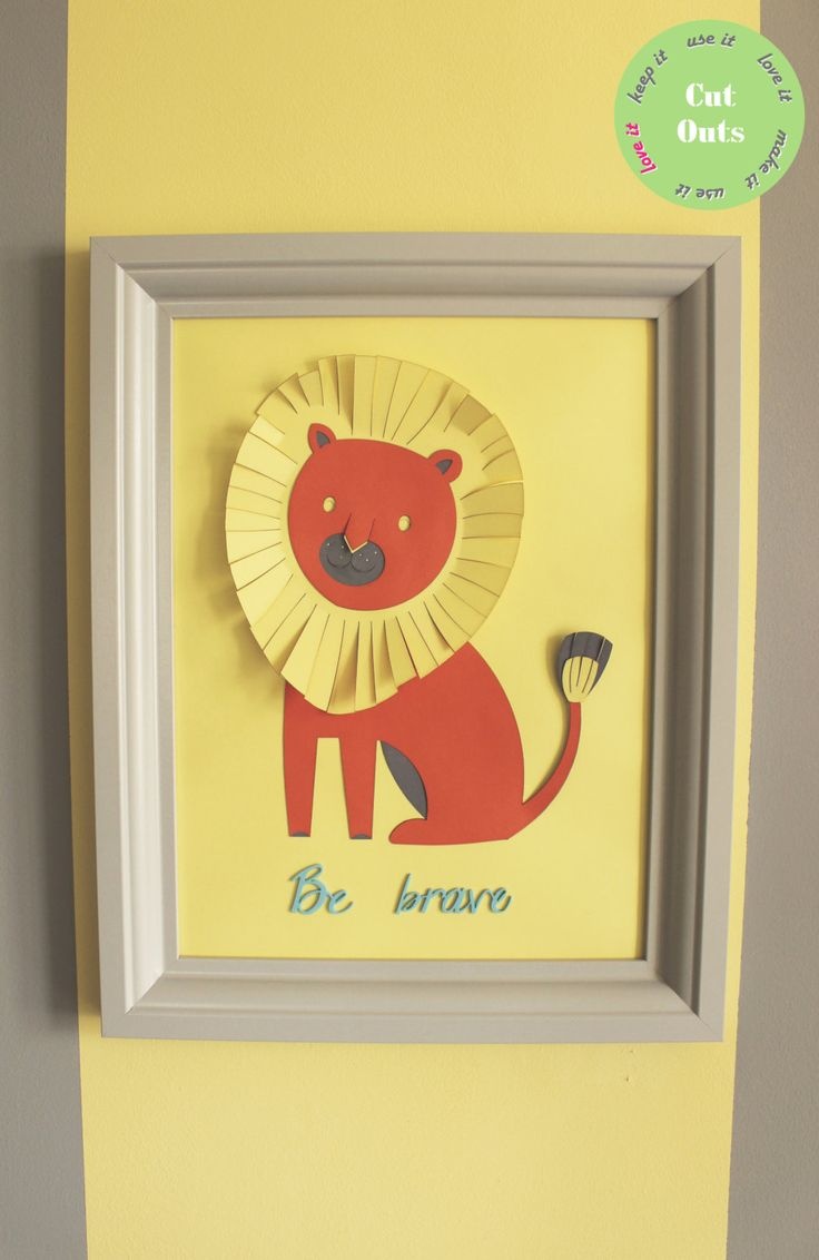 """Personalised 3D nursery artwork. """"Be barve"""" message from a lion. by CutOutsProductDesign on Etsy"""