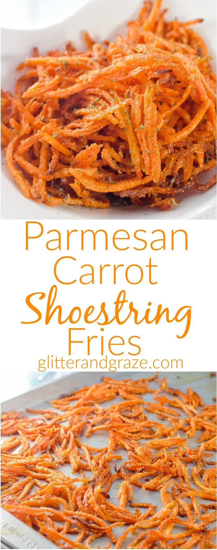 These Parmesan carrot shoestring fires are a crunchy, cheesy healthy alternative snack