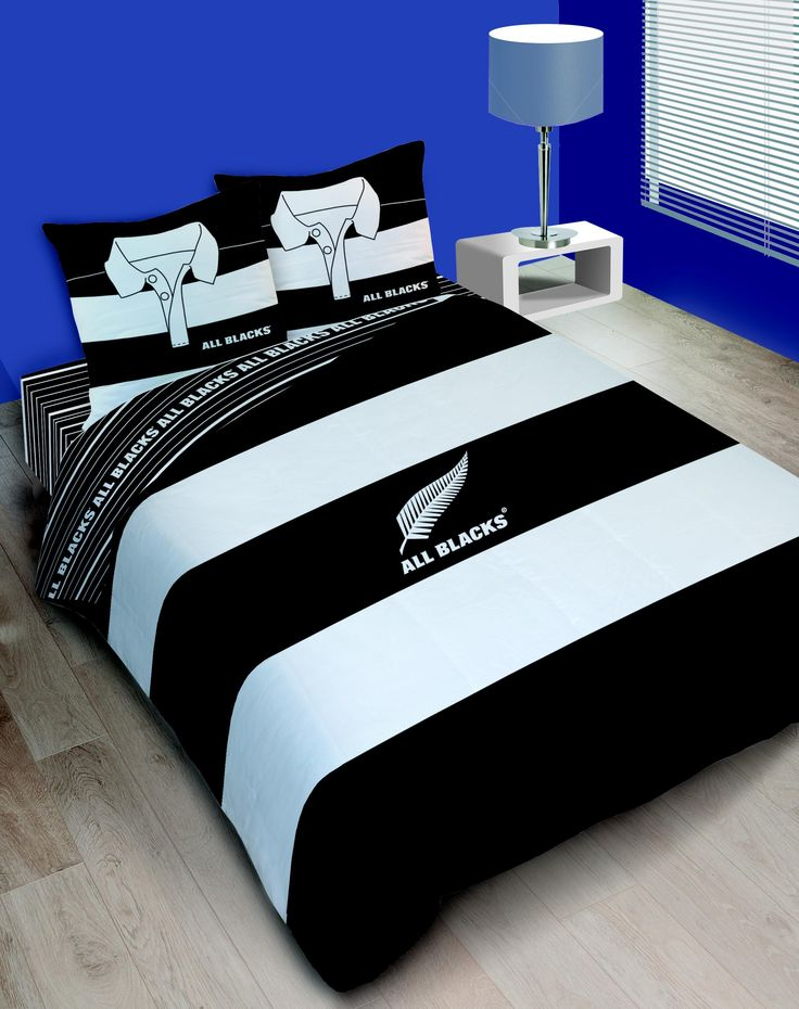 Housse de couette rugby all blacks polo double noir et - Housse de couette rugby ...