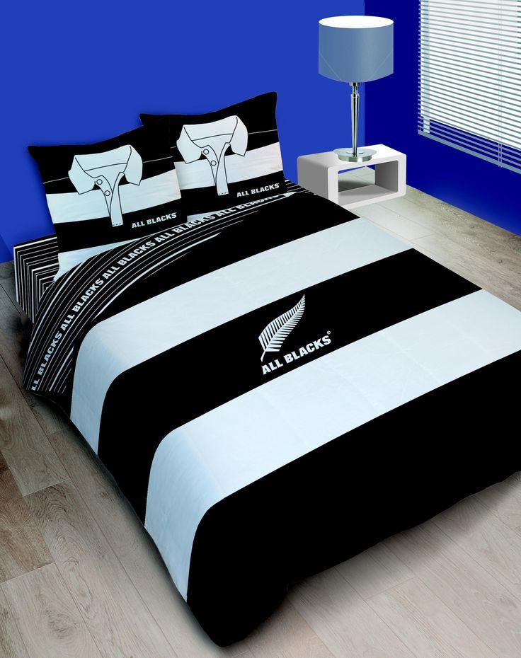 housse de couette rugby all blacks polo double noir et blanc pinterest rugby housses de. Black Bedroom Furniture Sets. Home Design Ideas