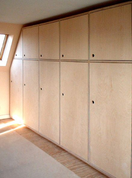 'Weaver' Plywood fitted wardrobes - would love introduce some natural plywood into the house. could be a concealed wardrobe/closets in master, and also bench for dining if we can push out kitchen/living space...