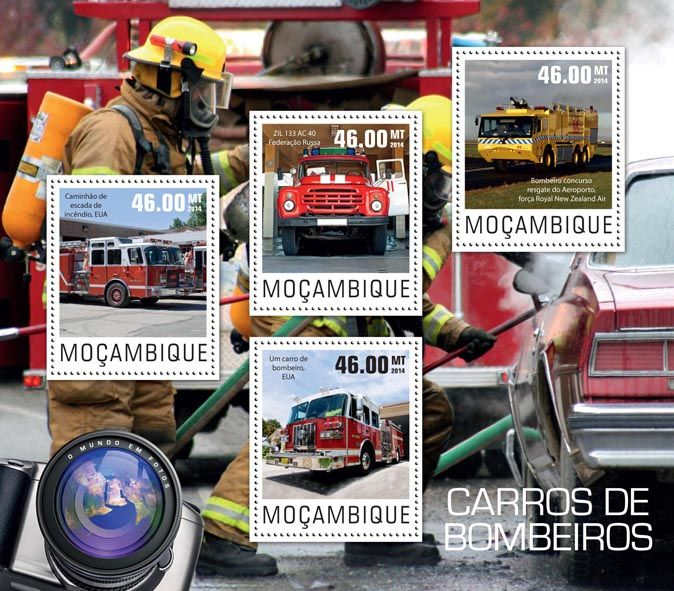 Post stamp Mozambique MOZ 14425 aFire engines (Ladder fire truck, USA, {…}, Fire engine airport rescue Tender, Royal New Zealand Air force)