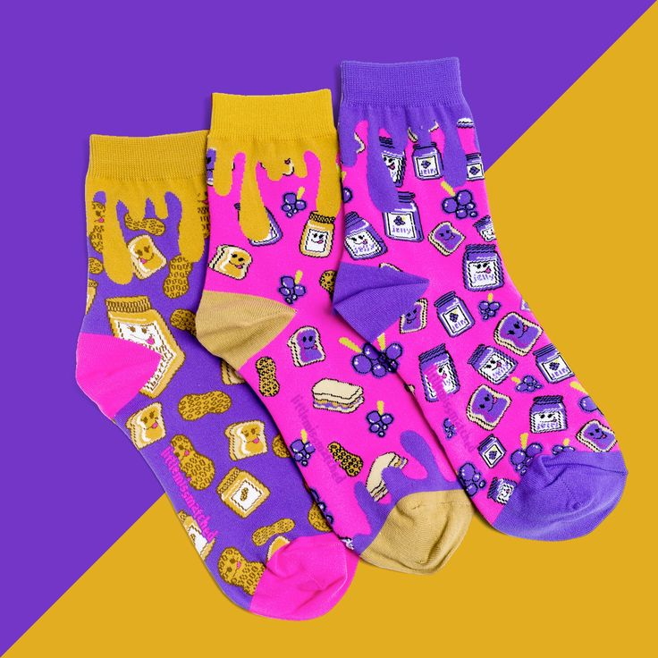 It's PBJ time! My how it smells so fine! Like the sandwich, these socks are classic! So put a little smelly jelly on your feet, your tootsies will look so neat! A must have smelly addition to your sock drawer! These socks smell of sweet grape jelly!