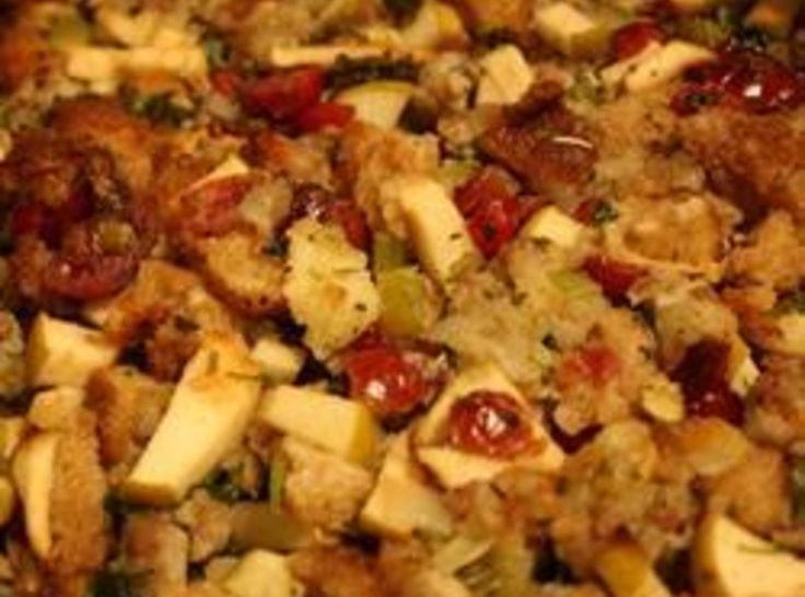 Sausage, Apple, Cranberry Dressing #recipe #thanksgiving