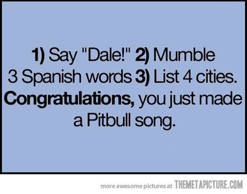 hahahaha!! How to make your own Pitbull song...