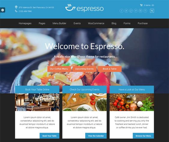 Best more of the restaurant wordpress themes