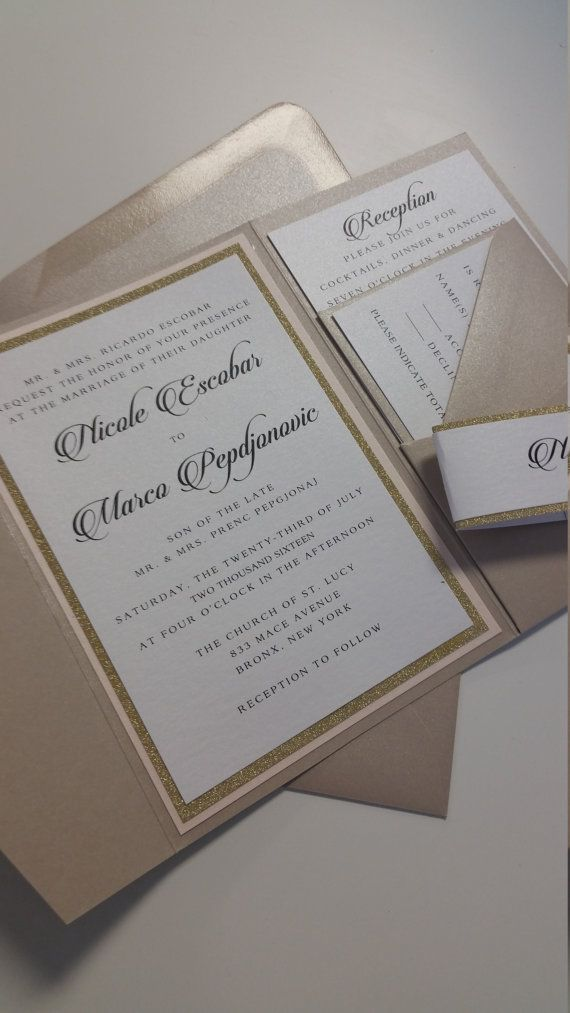 champagne blush wedding invitations%0A Champagne Wedding Invitation Suite Calligraphy Wedding