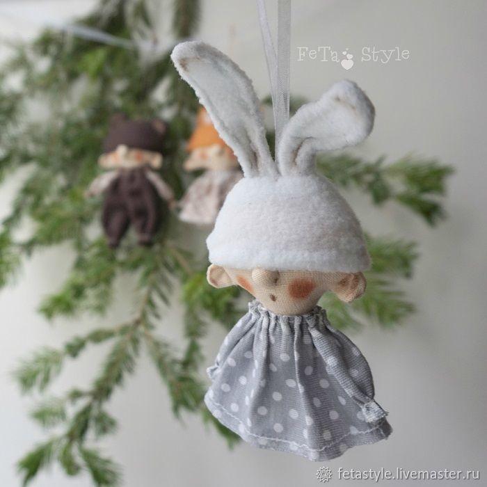 Купить Зайка Мишка и Лиса Игрушки на Елку Гирлянда малая - подарок на новый год, новогодний интерьер
