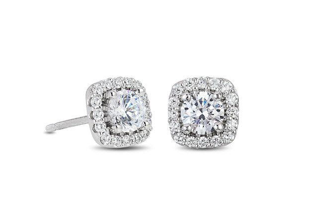 Cushion Halo Diamond Stud Earrings - in 18kt White Gold