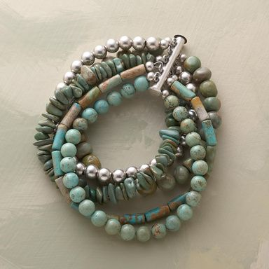 """IN CONCERT BRACELET -- A medley of turquoise beads harmonizes beautifully in assorted shapes and sizes, while a single strand of sterling silver balls plays refrain. Pin-and-clasp closure. Handcrafted in the USA. 7-1/4""""L."""