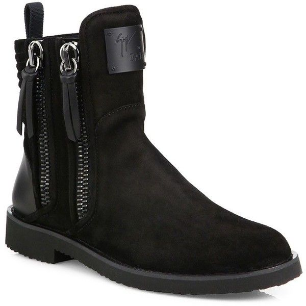 Giuseppe Zanotti Giuseppe x Zayn ZIGI Double Zip Boots (2950 TND) ❤ liked on Polyvore featuring men's fashion, men's shoes, men's boots, apparel & accessories, mens zip boots, mens suede boots, mens zipper boots, mens suede shoes and mens rugged boots