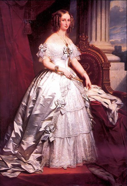 2nd wife of King Leopold I of Belgium (Leopold Georg Christian Friedrich) (1790-1865) in 1832 & daughter of Louis Philippe d'Orléans, King Louis Philippe I (1773–1850) King of the French & Princess Maria Amalia Teresa of Naples and Sicily (1782–1866). Louise-Marie d'Orléans (Louise Marie Thérèse Charlotte Isabelle) (1812-1850). By Nicaise de Keyser. Leopold I & Louise-Marie d'Orléans had 4 children.