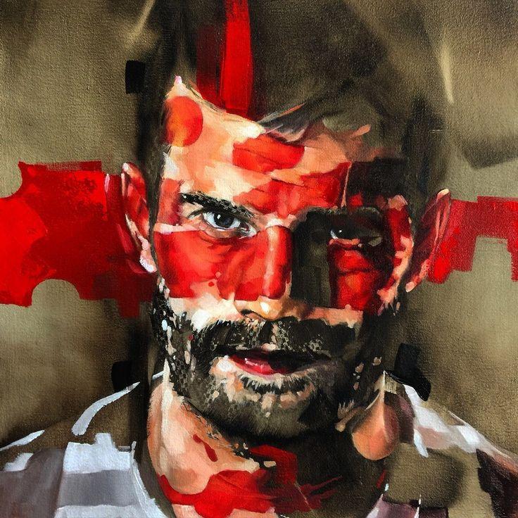 """Assimilation 7"" 2016, by Corné Eksteen, Oil on canvas (50 x 50cm)"