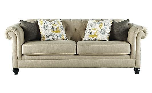 Hindell Park - Putty Sofa - I love this sofa from Ashley Furniture. I need one like this where the back pillows can't get messed up and taken off!