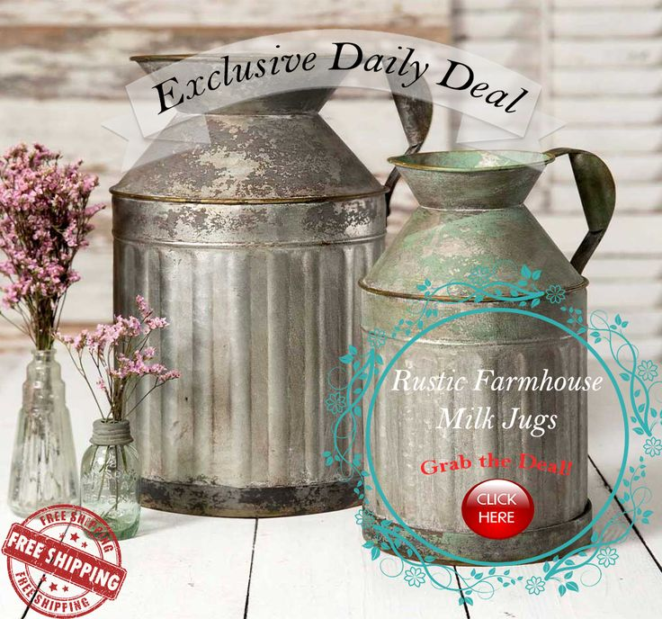 Exclusive Daily Deal!!  Who could resist these Beautiful  Rustic Farmhouse Metal milk Jugs - Set of two.  These Beautiful Rustic Metal Milk Jugs are a wonderful addition to any home decor.    Now Free Shipping on all orders!!
