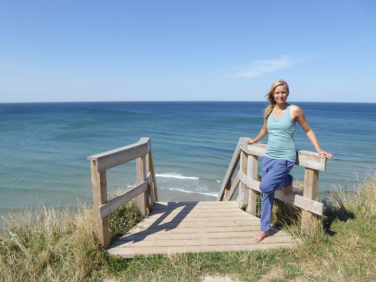 Lovely Karina Helsted Moe in our relief top and comfy pants - in the beautiful surroundings of Hundested, Denmark
