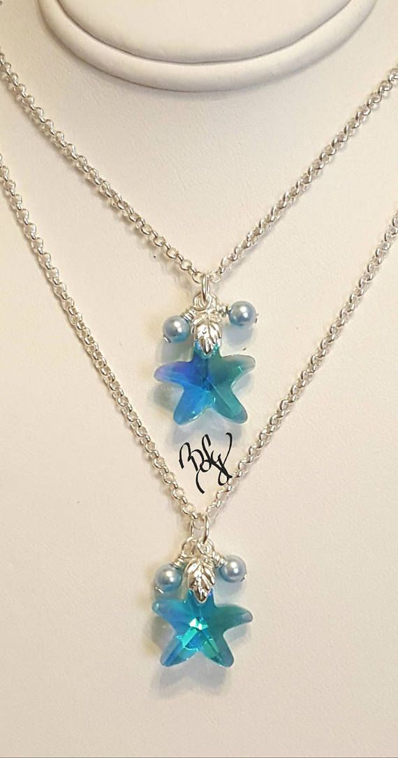 Custom Order Crystal Necklace Starfish Necklace  Two Strand