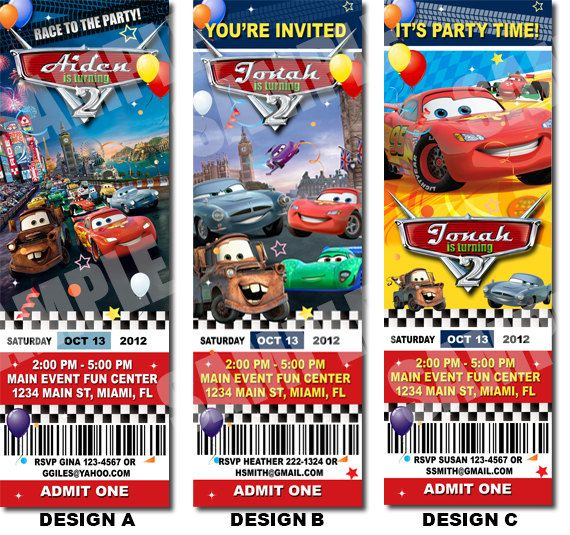 Disney Cars Birthday Ticket Invitation Printable Disney Cars